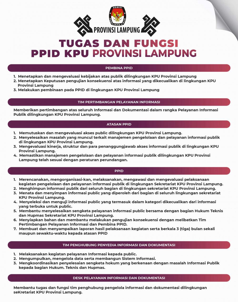 Tugas dan Fungsi PPID KPU Provinsi Lampung